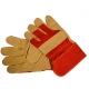 Lederhandschuh mit Stulpe und gefütterter Innenhand, Größe 10